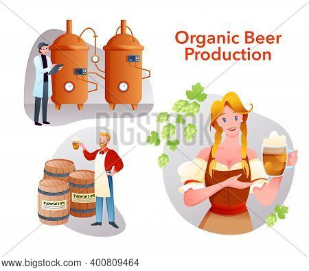 Organic Beer Craft Production Set, Cartoon Brewery Collection With Brewer People