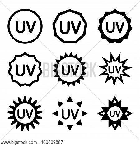 Uv Sterilization Stamp. Uv Light Disinfection Or Protection Badges. Set Of Ultraviolet Sterilization