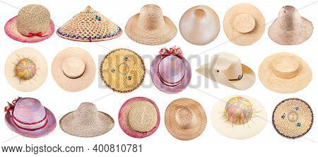 Collection Of Various Summer Straw Hats Isolated On White Background