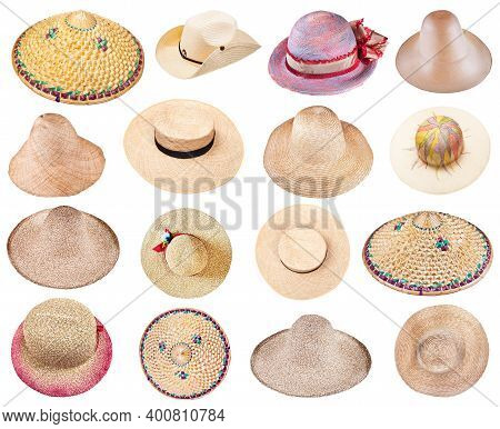 Set Of Various Summer Straw Hats Isolated On White Background