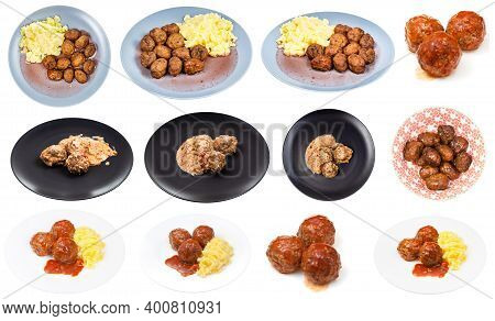 Set Of Various Dishes With Meatballs On Plate Isolated On White Background