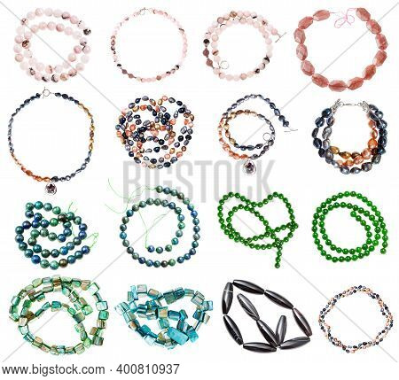 Collection Of Various Strings Of Beads From Gemstones (rose Quartz, Nephrite, Jade, Nacre, River Pea