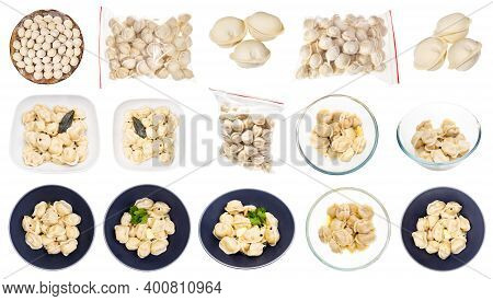 Collection Of Various Cooked And Uncooked Pelmeni (russian Dumplings Filled With Minced Meat) Iisola