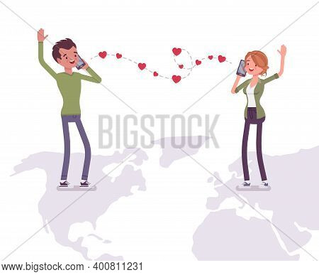 Love And Long Distance Romantic Relationship For Man, Woman. Separated Young People Communicate By P