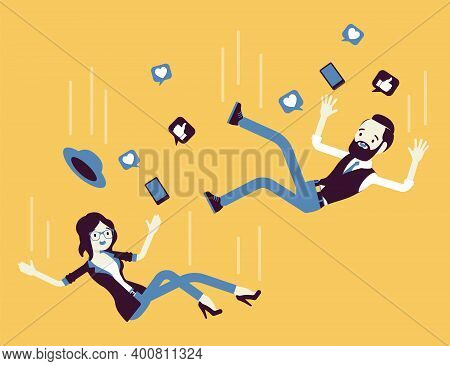 Falling Down Unsuccessful People, Social Media Users, Buttons. Man, Woman Moving To Internet, Comput