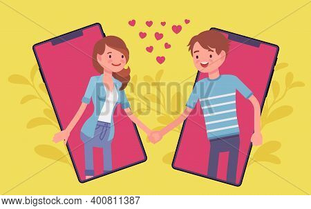 Love And Long Distance Romantic Relationship Through Tablet Screen. Young Happy People Communicate B