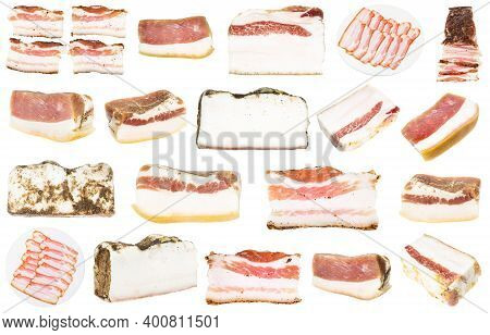 Collection Of Various Salted Salo (pork Fatback) Isolated On White Background