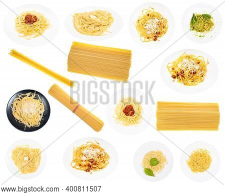 Set Of Cooked Dishes From Italian Spaghetti Isolated On White Background