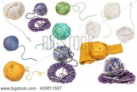 Set Of Various Skeins Isolated On White Background