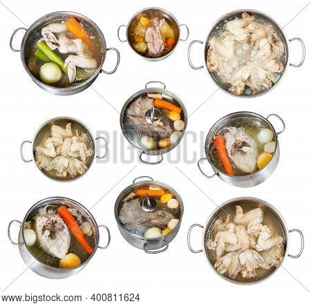 Set Of Cooking Broth In Steel Stewpot Isolated On White Background
