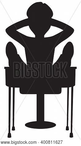 A Cartoon Student Slacker With His Feet Up On His Desk In Silhouette