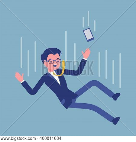Falling Down Unsuccessful Businessman, Moving To Fail. Life Lower Place Or Position, Dismissal, Remo
