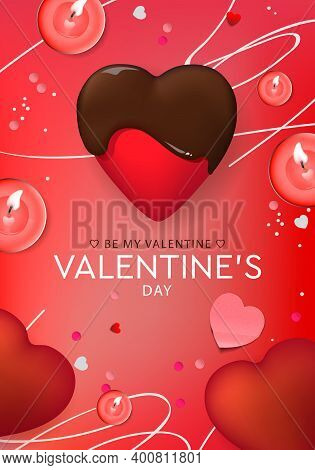 Valentines Day Design. Chocolate Heart, Candles. Holiday Banner, Web Poster, Flyer, Greeting Card, C