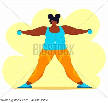 A Young African American Obese Woman Doing Exercise. A Girl Working In Sweat To Get Rid Of Belly Fat