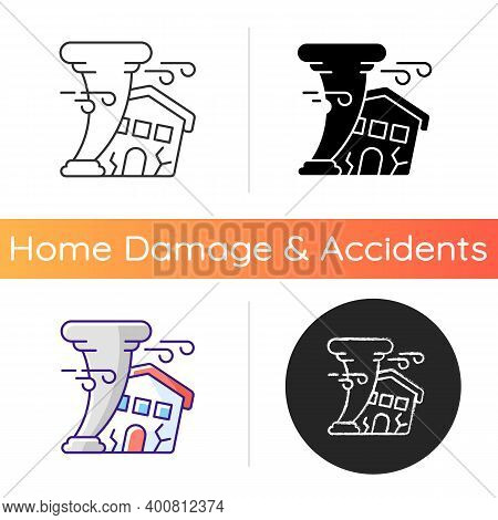 Hurricane Icon. Destroying Residential Structures. Catastrophic Property Damage. Outdoor Hazards. Ho