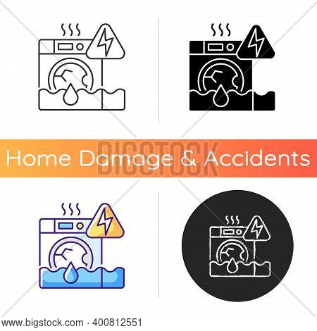Household Appliances Malfunction Icon. Washing Machine, Dishwasher. Appliance Breakdown. Troubleshoo