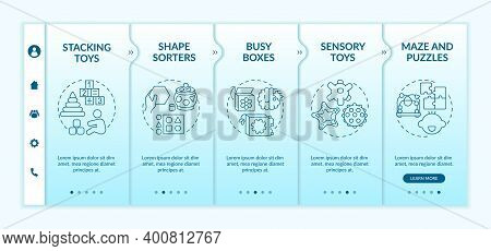 Baby Toys Onboarding Vector Template. Develop Cognitive Ability. Early Childhood Development. Respon
