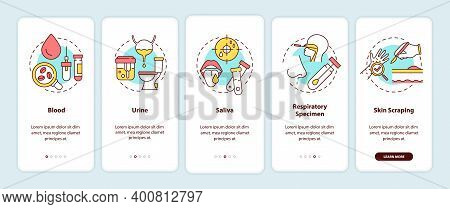 Lab Samples Onboarding Mobile App Page Screen With Concepts. Blood, Urine, Saliva, Skin Scraping Wal