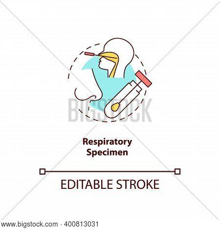 Respiratory Specimen Concept Icon. Lab Sample Idea Thin Line Illustration. Influenza Virus Testing.
