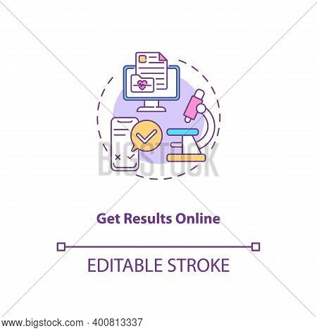 Getting Results Online Concept Icon. Lab Test Ordering Step Idea Thin Line Illustration. Email Notif
