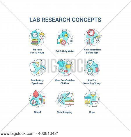 Lab Research Concept Icons Set. Health Diagnostics Idea Thin Line Rgb Color Illustrations. Blood, Ur