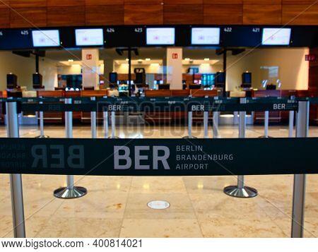 Schönefeld, Germany - November 1, 2020 - Barrier In Front Of The Check-in Area At Berlin Brandenburg