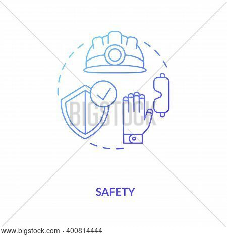 Safety Blue Gradient Concept Icon. Health Insurance And Protection For Engineer, Builder. Contractor