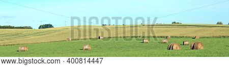 Mown Wheat Fields With Sheaf And Sky In The Village. Sheaf Of Hay On Wheat Field. Rural Landscape Wi