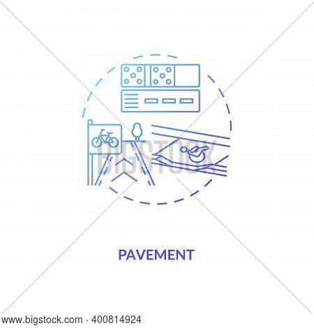 Pavement Blue Gradient Concept Icon. Footpath Construction. Asphalt Layers. Building Footway. Civil