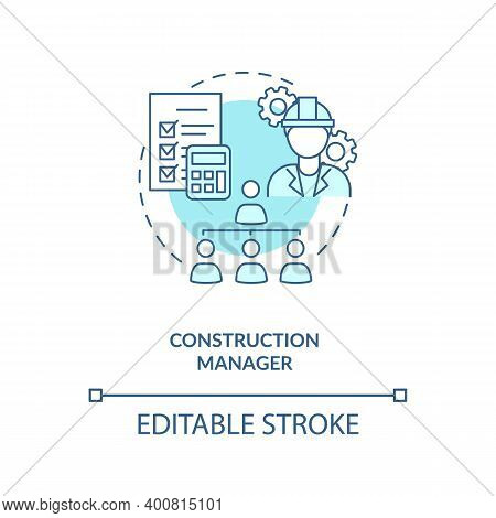 Construction Manager Turquoise Concept Icon. Supervisor Work. Business Project Management. Civil Eng