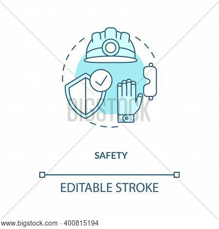 Safety Turquoise Concept Icon. Health Insurance And Protection For Builder. Contractor Ppe. Civil En