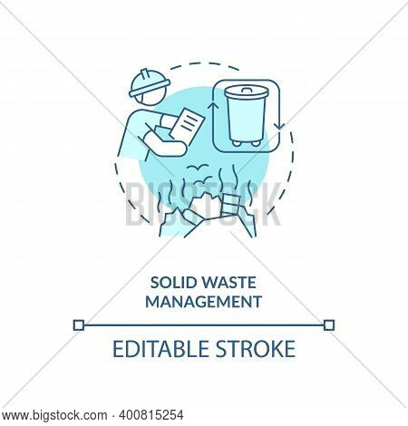 Solid Waste Management Turquoise Concept Icon. Recycling Garbage. Environmental Regulation. Civil En