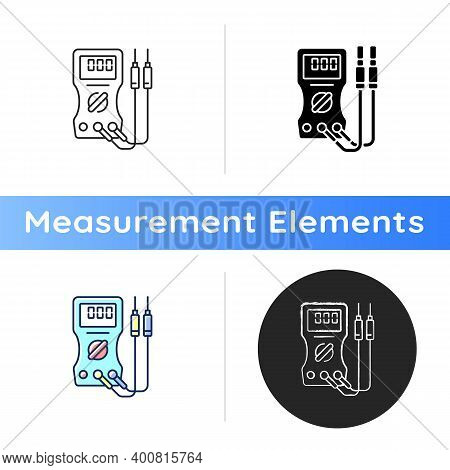 Ammeter Icon. Voltmeter, Ohmmeter. Measuring Direct And Alternating Electric Current. Circuit Analys