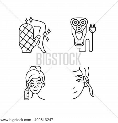 Beauty Appliances Linear Icons Set. Body Scrubber. Electric Shaver. Blackhead Remover. Eyebrow Razor
