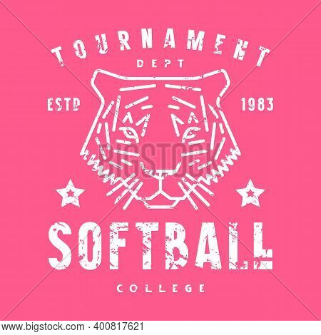 Emblem Of Softball Tournament With A Picture Of Tiger. Graphic Design With Vintage Texture For T-shi