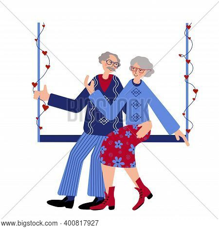 Seniors Couple Is Swinging On The Swings Decorated With Hearts. Live Tigether. Seniors Couple Are Ce
