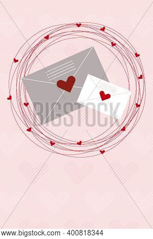 Cute Valentines Day Postcard. Mails To Your Family And Love Framed With Red Hearts. Flat