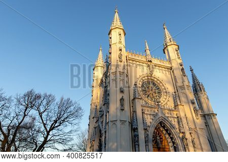 Church In The Medieval Gothic Style. Gothic Chapel