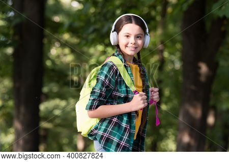 Let The Adventure Begin. Happy Child Carry Travel Bag Outdoors. Pleasure Travel. Music Technology. S