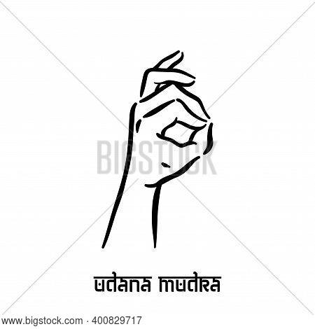 Udana Mudra. Hand Spirituality Hindu Yoga Of Fingers Gesture. Technique Of Meditation For Mental Hea