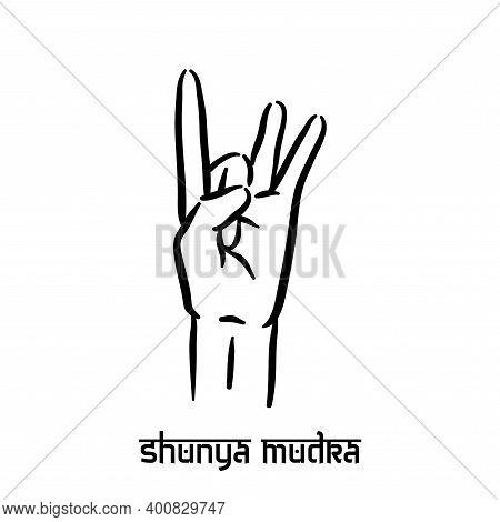 Shunya Mudra. Hand Spirituality Hindu Yoga Of Fingers Gesture. Technique Of Meditation For Mental He