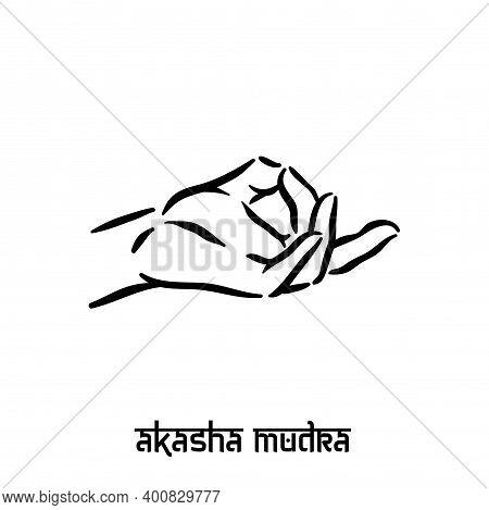 Akasha Mudra. Hand Spirituality Hindu Yoga Of Fingers Gesture. Technique Of Meditation For Mental He