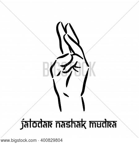 Jalodar Nashak Mudra. Hand Spirituality Hindu Yoga Of Fingers Gesture. Technique Of Meditation For M