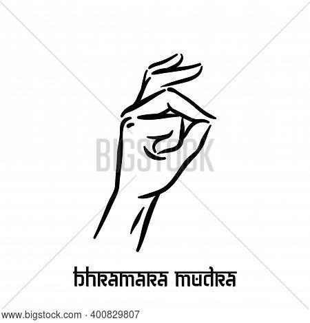 Bhramara Mudra. Hand Spirituality Hindu Yoga Of Fingers Gesture. Technique Of Meditation For Mental