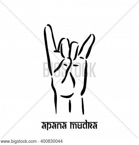 Apana Mudra. Hand Spirituality Hindu Yoga Of Fingers Gesture. Technique Of Meditation For Mental Hea