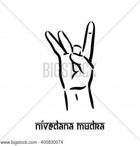 Nivedana Mudra. Hand Spirituality Hindu Yoga Of Fingers Gesture. Technique Of Meditation For Mental