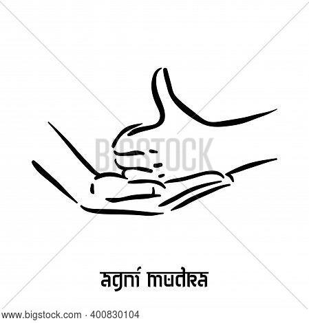 Agni Mudra. Hand Spirituality Hindu Yoga Of Fingers Gesture. Technique Of Meditation For Mental Heal