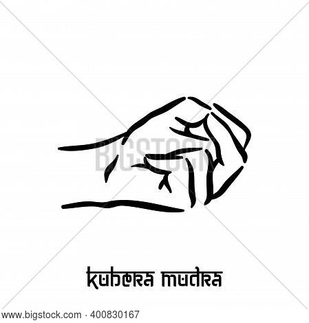 Kubera Mudra. Hand Spirituality Hindu Yoga Of Fingers Gesture. Technique Of Meditation For Mental He