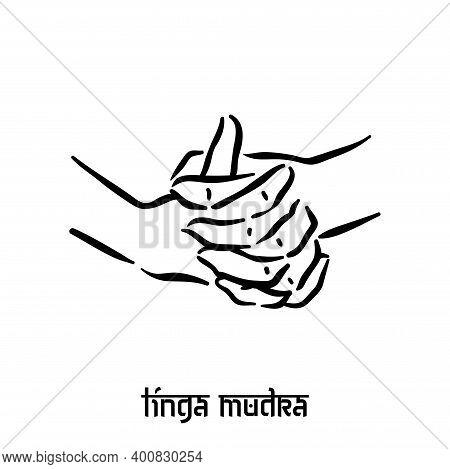Linga Mudra. Hand Spirituality Hindu Yoga Of Fingers Gesture. Technique Of Meditation For Mental Hea