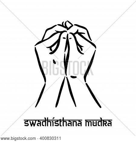 Swadhisthana Mudra. Hand Spirituality Hindu Yoga Of Fingers Gesture. Technique Of Meditation For Men